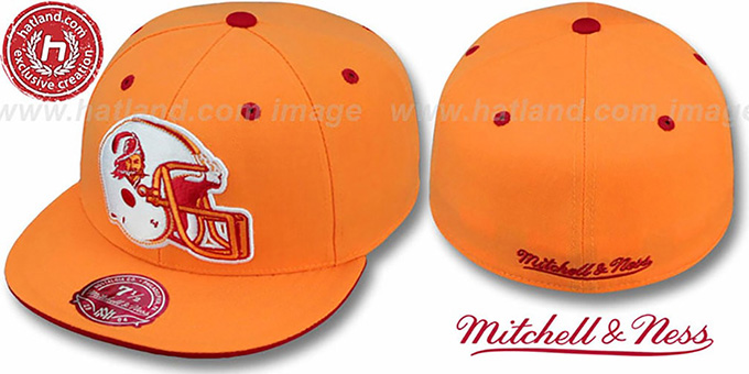 Buccaneers 'XL-HELMET' Orange Fitted Hat by Mitchell & Ness : pictured without stickers that these products are shipped with