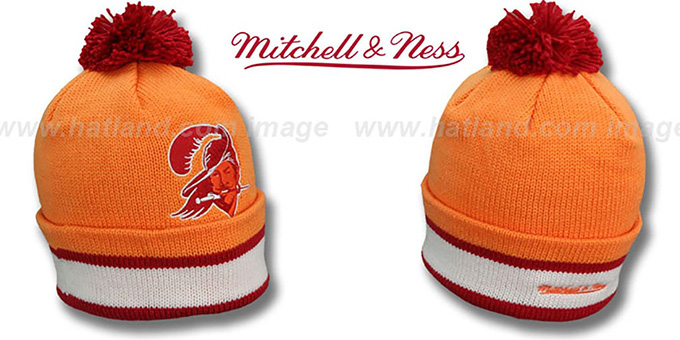 Buccaneers 'XL-LOGO BEANIE' Orange by Mitchell and Ness : pictured without stickers that these products are shipped with