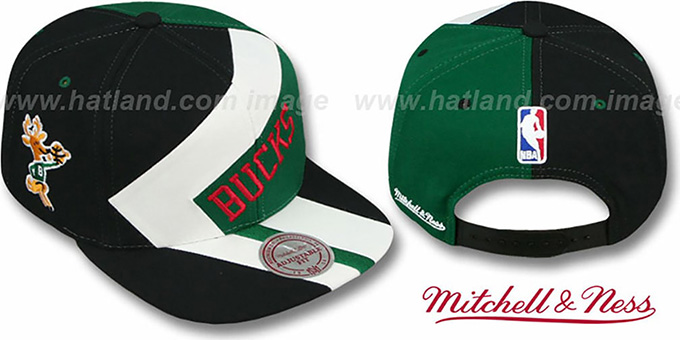 Bucks '1-ON-1 SNAPBACK' Black-White-Green Hat by Mitchell & Ness : pictured without stickers that these products are shipped with