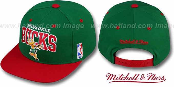 Bucks '2T TEAM ARCH SNAPBACK' Adjustable Hat by Mitchell & Ness : pictured without stickers that these products are shipped with