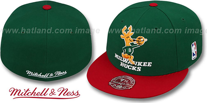 Bucks '2T XL-LOGO' Green-Red Fitted Hat by Mitchell & Ness : pictured without stickers that these products are shipped with