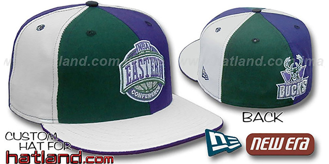 Bucks CONFERENCE 'PINWHEEL' Green-Purple-White Fitted Hat : pictured without stickers that these products are shipped with