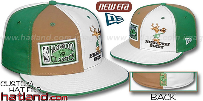 Bucks DW HARDWOOD 'OLD-SCHOOL' Wheat-White-Green Fitted Hat : pictured without stickers that these products are shipped with