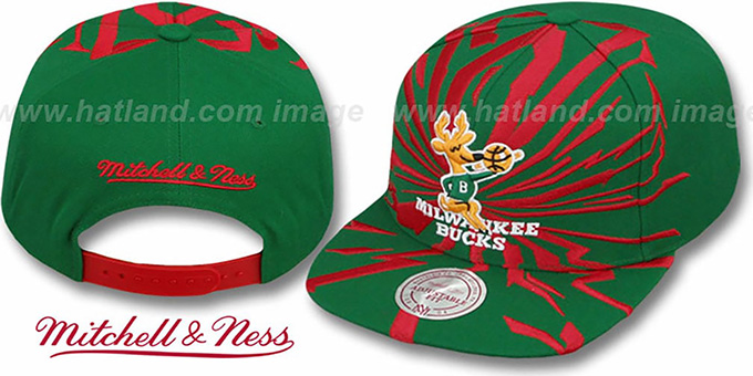 Bucks 'EARTHQUAKE SNAPBACK' Green Hat by Mitchell & Ness : pictured without stickers that these products are shipped with