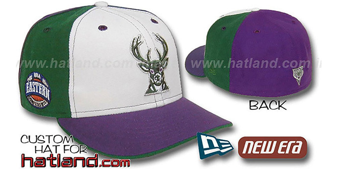 Bucks 'EC-PINWHEEL' White-Green-Purple Fitted Hat : pictured without stickers that these products are shipped with