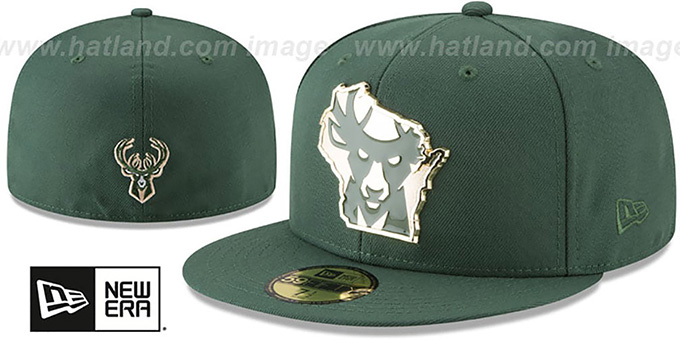 bda2355ceb69e9 Bucks 'GOLD STATED METAL-BADGE' Green Fitted Hat by New Era