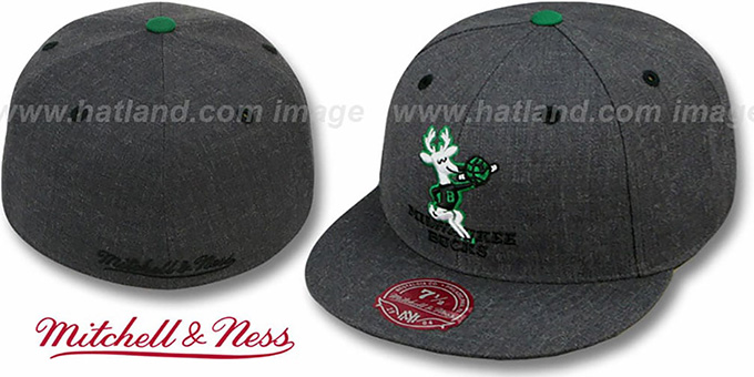Bucks 'GREY HEDGEHOG' Fitted Hat by Mitchell & Ness : pictured without stickers that these products are shipped with
