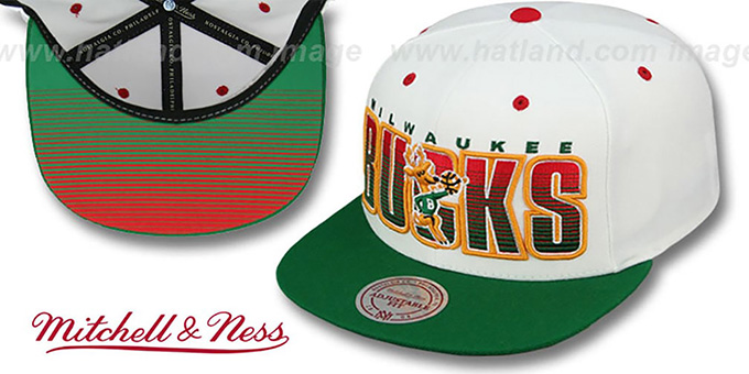 Bucks 'HOMESTAND SNAPBACK' White-Green Hat by Mitchell & Ness : pictured without stickers that these products are shipped with