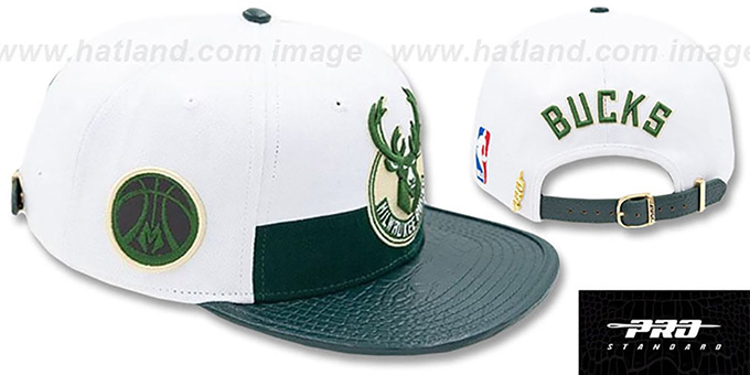 Bucks 'HORIZON STRAPBACK' White-Green Hat by Pro Standard
