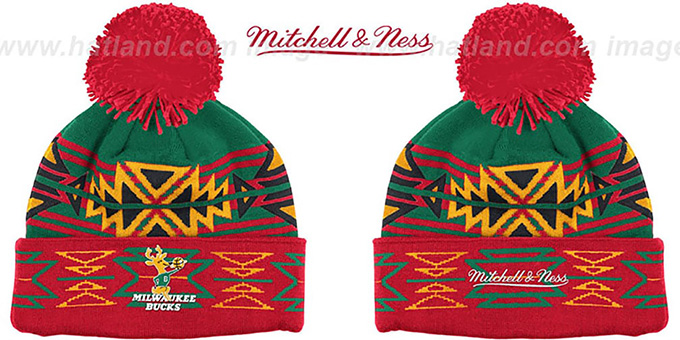 Bucks HWC 'GEOTECH' Knit Beanie by Mitchell and Ness : pictured without stickers that these products are shipped with