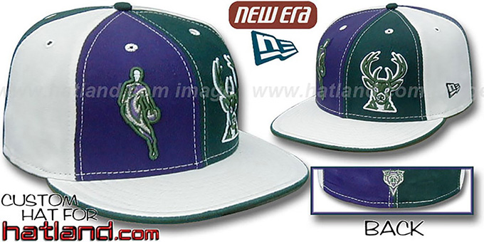 Bucks INSIDER 'DOUBLE WHAMMY' Purple-Green-White Fitted Hat