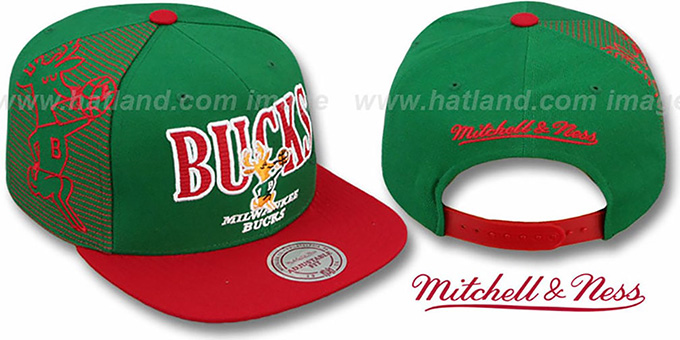 Bucks 'LASER-STITCH SNAPBACK' Green-Red Hat by Mitchell & Ness : pictured without stickers that these products are shipped with