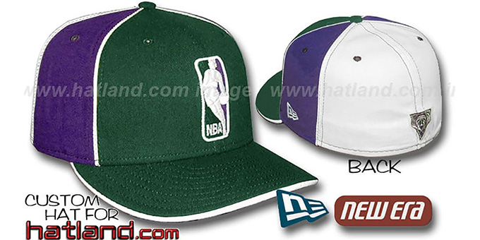 Bucks 'LOGOMAN-2' Green-Purple-White Fitted Hat by New Era : pictured without stickers that these products are shipped with