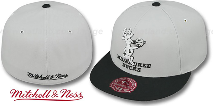 Bucks 'MONOCHROME XL-LOGO' Grey-Black Fitted Hat by Mitchell & Ness : pictured without stickers that these products are shipped with