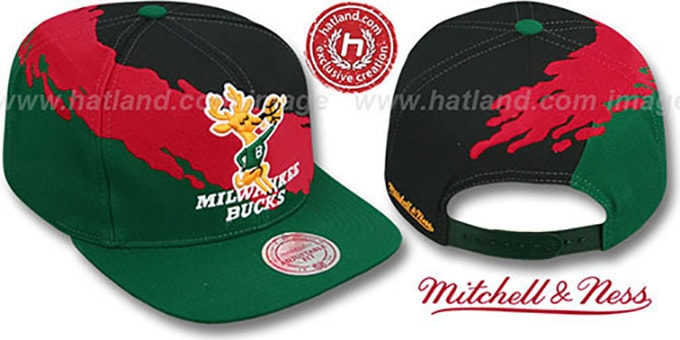 Bucks 'PAINTBRUSH SNAPBACK' Black-Red-Green Hat by Mitchell & Ness : pictured without stickers that these products are shipped with
