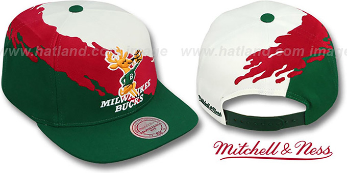 Bucks 'PAINTBRUSH SNAPBACK' White-Red-Green Hat by Mitchell & Ness : pictured without stickers that these products are shipped with