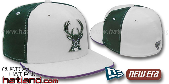 Bucks 'PINWHEEL' White-Green Fitted Hat : pictured without stickers that these products are shipped with