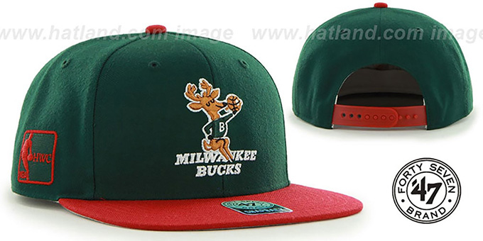 Bucks 'SURE-SHOT SNAPBACK' Green-Red Hat by Twins 47 Brand : pictured without stickers that these products are shipped with
