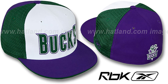 Bucks 'SWINGMAN' White-Green-Purple Fitted Hat by Reebok : pictured without stickers that these products are shipped with