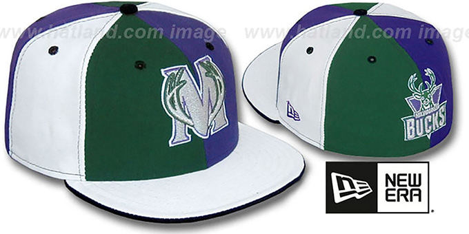Bucks TWO BIG 'PINWHEEL' Green-Purple-White Fitted Hat : pictured without stickers that these products are shipped with