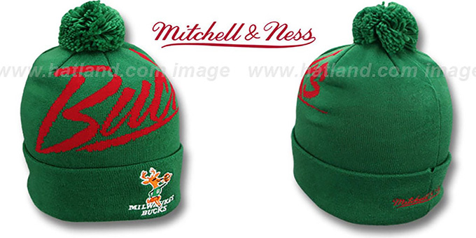 Bucks 'VICE BEANIE' Green by Mitchell and Ness : pictured without stickers that these products are shipped with