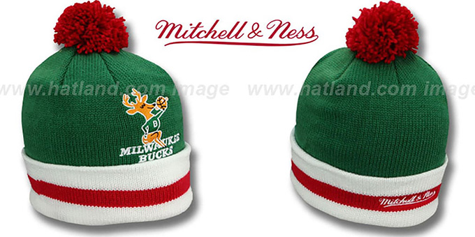 Bucks 'XL-LOGO BEANIE' Green by Mitchell and Ness : pictured without stickers that these products are shipped with