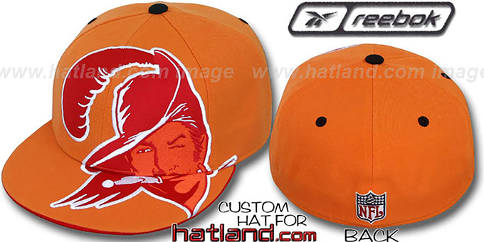 Bucs 'INVINCIBLE' Fitted Hat by Reebok - orange : pictured without stickers that these products are shipped with