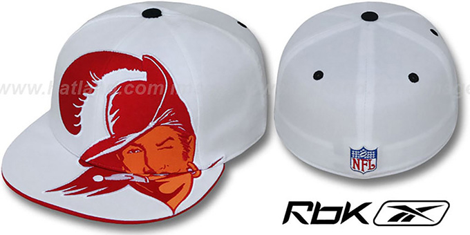 Bucs 'INVINCIBLE' Fitted Hat by Reebok - white : pictured without stickers that these products are shipped with