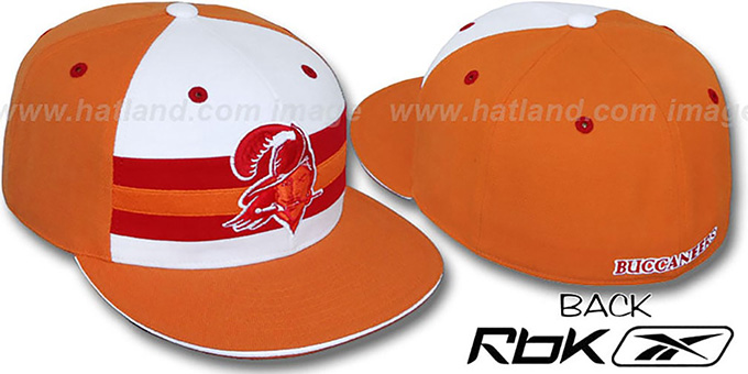 Bucs 'NFL-HORIZON THROWBACK' Fitted Hat by Reebok : pictured without stickers that these products are shipped with