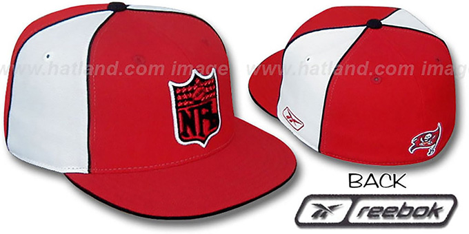 Bucs 'NFL SHIELD PINWHEEL' Red White Fitted Hat by Reebok : pictured without stickers that these products are shipped with