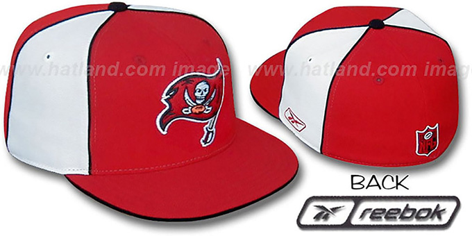 Bucs 'TEAM PINWHEEL' Red White Fitted Hat by Reebok