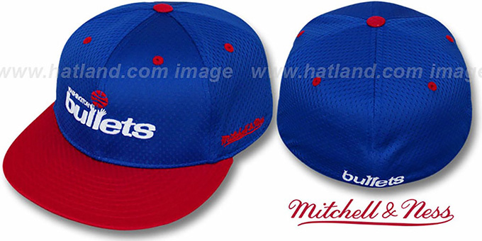 Bullets '2T BP-MESH' Royal-Red Fitted Hat by Mitchell and Ness : pictured without stickers that these products are shipped with