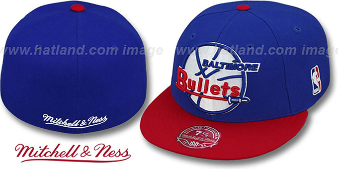 Bullets '2T XL-LOGO' Royal-Red Fitted Hat by Mitchell & Ness : pictured without stickers that these products are shipped with