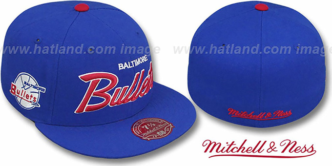 Bullets 'CLASSIC-SCRIPT' Royal Fitted Hat by Mitchell & Ness : pictured without stickers that these products are shipped with