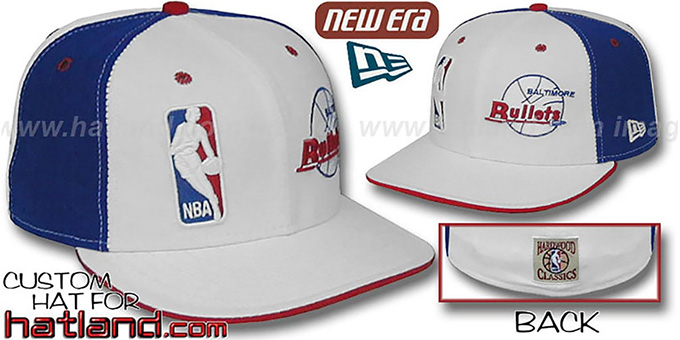Bullets 'DW-LOGOMAN-OLD SCHOOL' White-Royal Fitted Hat : pictured without stickers that these products are shipped with