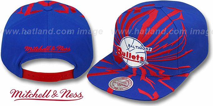 Bullets 'EARTHQUAKE SNAPBACK' Royal Hat by Mitchell and Ness : pictured without stickers that these products are shipped with