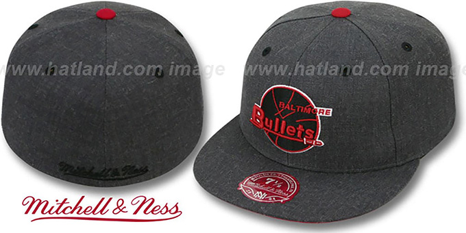 Bullets 'GREY HEDGEHOG' Fitted Hat by Mitchell and Ness : pictured without stickers that these products are shipped with