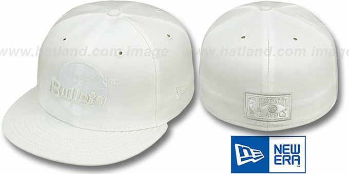 Bullets 'HARDWOOD FADEOUT' White Fitted Hat by New Era : pictured without stickers that these products are shipped with