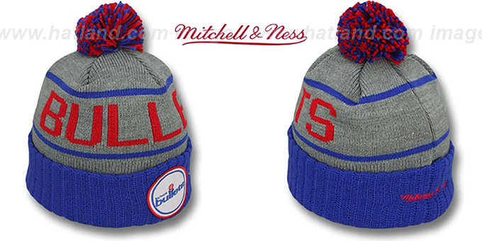 Bullets 'HIGH-5 CIRCLE BEANIE' Grey-Royal by Mitchell and Ness : pictured without stickers that these products are shipped with