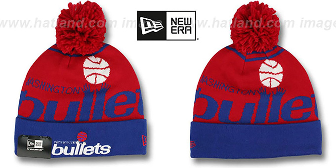 Bullets 'LOGO WHIZ' Red-Royal Knit Beanie Hat by New Era : pictured without stickers that these products are shipped with