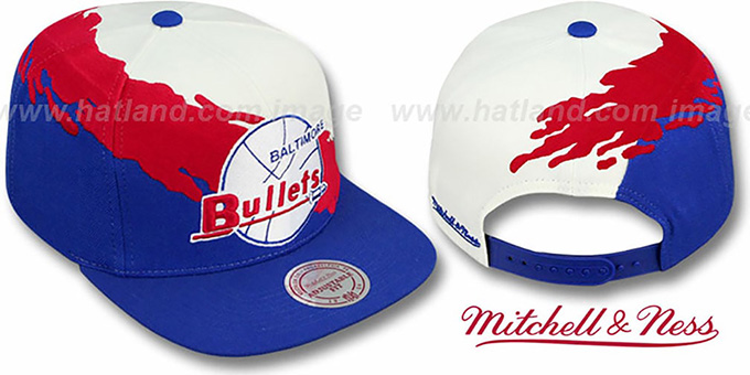 Bullets 'PAINTBRUSH SNAPBACK' White-Red-Royal Hat by Mitchell & Ness : pictured without stickers that these products are shipped with