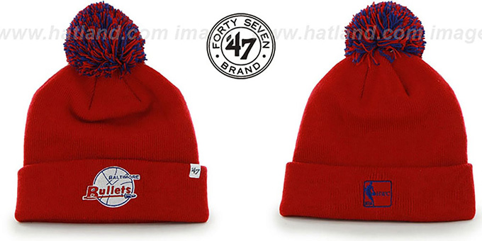 Bullets 'POMPOM CUFF' Red Knit Beanie Hat by Twins 47 Brand : pictured without stickers that these products are shipped with