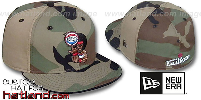 Bullets RETROMAN CAMO 'PINWHEEL' Woodland-Tan Fitted Hat : pictured without stickers that these products are shipped with