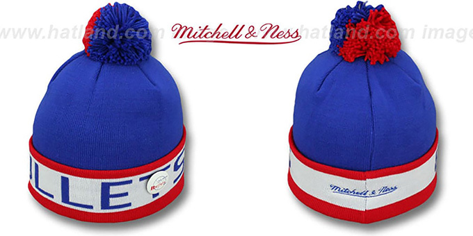 Bullets 'THE-BUTTON' Knit Beanie Hat by Michell & Ness : pictured without stickers that these products are shipped with
