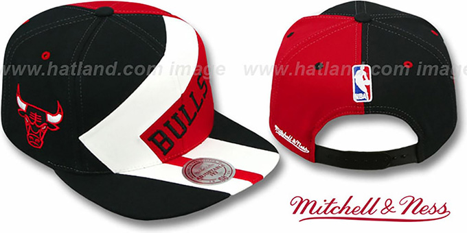 Bulls '1-ON-1 SNAPBACK' Black-White-Red Hat by Mitchell and Ness : pictured without stickers that these products are shipped with