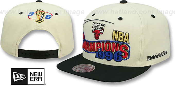 Bulls '1996 CHAMPIONS REPLICA SNAPBACK' Hat by Mitchell and Ness : pictured without stickers that these products are shipped with