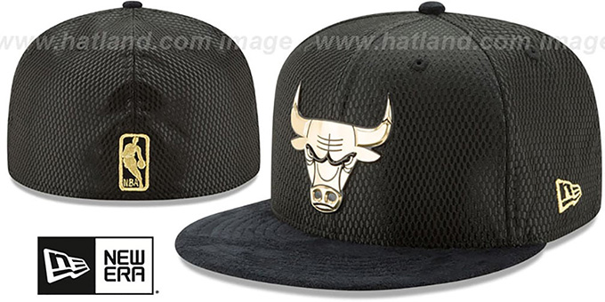 Bulls '2017 ONCOURT' Black-Gold Fitted Hat by New Era : pictured without stickers that these products are shipped with