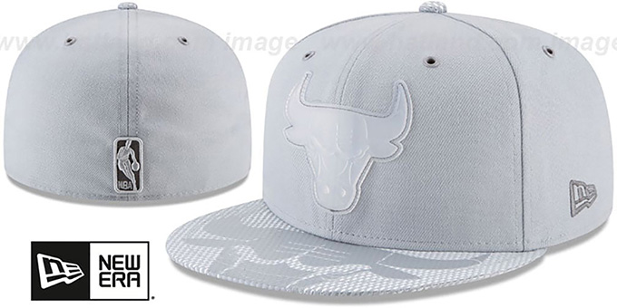 Bulls '2018 NBA ONCOURT ALL-STAR' Grey Fitted Hat by New Era : pictured without stickers that these products are shipped with
