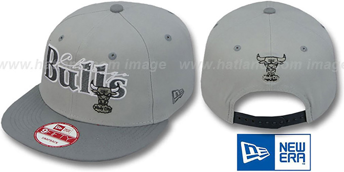 Bulls '2T CLASSIC-TAG SNAPBACK' Grey-Grey Adjustable Hat by New Era : pictured without stickers that these products are shipped with