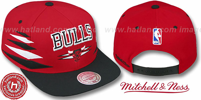 Bulls '2T DIAMONDS SNAPBACK' Red-Black Adjustable Hat by Mitchell & Ness : pictured without stickers that these products are shipped with